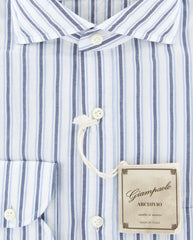 $375 Giampaolo Dark Blue Striped Shirt - XSlim - (GP61825377CLAUDPT1) - Parent