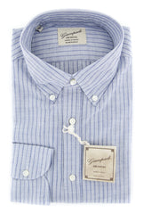 $375 Giampaolo Blue Striped Shirt - Extra Slim - 15.75/40 -(GP618253871TOBIAPT1)