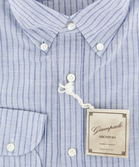$375 Giampaolo Blue Striped Shirt - Extra Slim - (GP618253871TOBIAPT1) - Parent