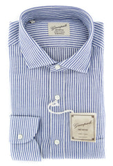 $375 Giampaolo Blue Striped Shirt - Extra Slim - 15.75/40 - (618GP2542-71)