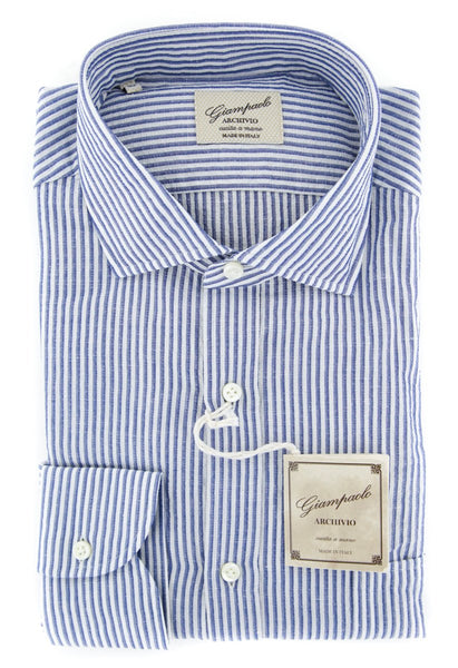 $375 Giampaolo Blue Striped Shirt - Extra Slim - (618GP2542-71) - Parent