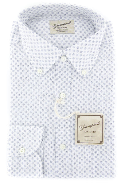 $375 Giampaolo Blue Polka Dot Shirt - Extra Slim - (GP618262675GIOPT1) - Parent