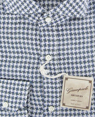 $375 Giampaolo Gray Houndstooth Shirt - XSlim - (GP61826415FELIPT1) - Parent