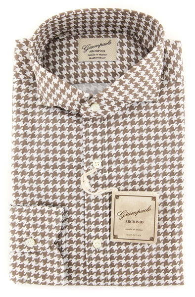 $375 Giampaolo Brown Houndstooth Shirt - XSlim - (GP61827561FELIPT1) - Parent