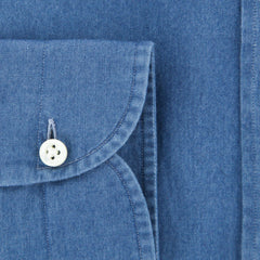 $375 Giampaolo Blue Chambray Shirt - XSlim - (GP618TS51797NA35PT1) - Parent