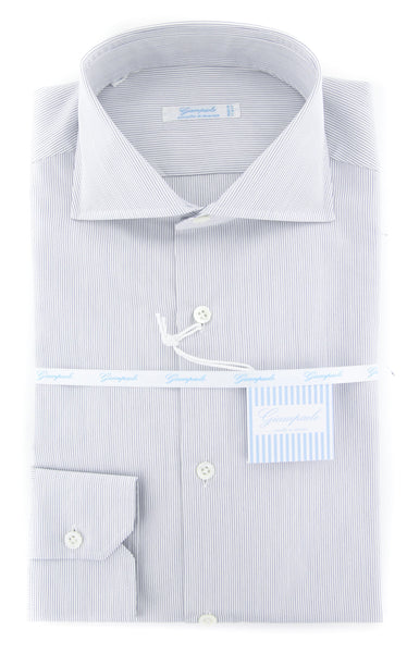 $375 Giampaolo Blue Striped Shirt - Extra Slim - (606512771NAN) - Parent