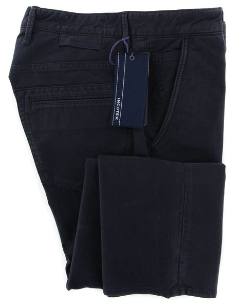 New $375 Incotex Midnight Navy Blue Solid Pants - Slim - (JOYC40338825) - Parent