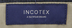 $475 Incotex Midnight Navy Blue Micro-Check Cotton Blend Pants - Slim - (898) - Parent