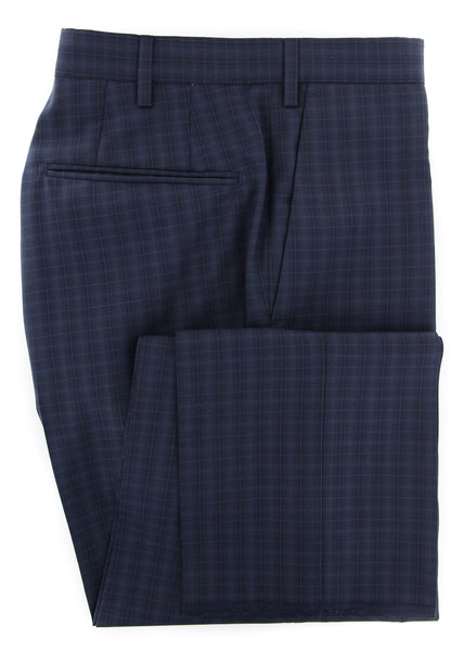 $475 Incotex Dark Blue Check Pants - Slim - (IN-S0T030-6388-820) - Parent