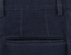 New $475 Incotex Navy Blue Melange Pants - Slim - (IN1121177) - Parent