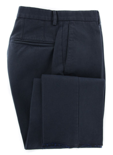 New $375 Incotex Navy Blue Solid Pants - Slim - (IN1120172) - Parent