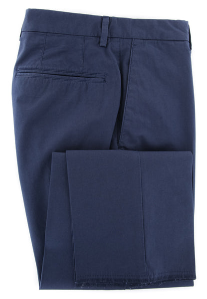 $375 Incotex Navy Blue Solid Pants - Slim - (IN-S0W030-S5646-822) - Parent