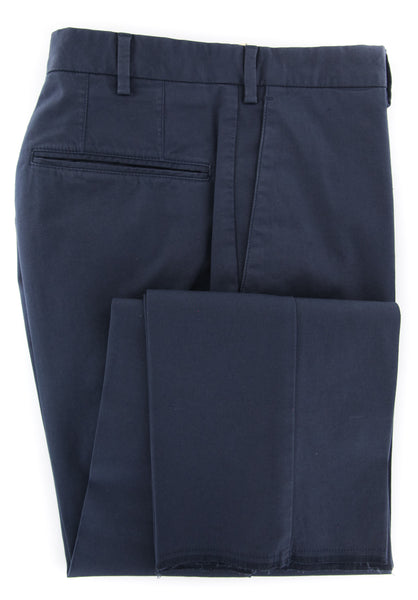 $375 Incotex Navy Blue Solid Pants - Slim - (IN-S0W030-S6398-822) - Parent