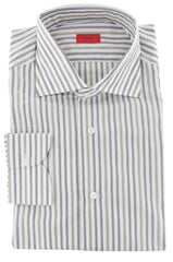 $475 Isaia Gray Striped Cotton Shirt - Slim - 16/41 - (385)
