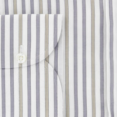 $475 Isaia Gray Striped Cotton Shirt - Slim - (385) - Parent