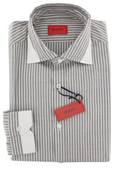 $475 Isaia Brown Striped Cotton Shirt - Extra Slim - (1V) - Parent
