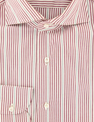 $475 Isaia Burgundy Red Striped Cotton Shirt - Slim - (JX) - Parent