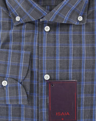 $475 Isaia Dark Gray Plaid Cotton Shirt - Slim - (4X) - Parent