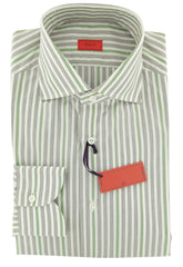 $475 Isaia Light Gray Striped Cotton Shirt - Slim - 15.75/40 - (20)