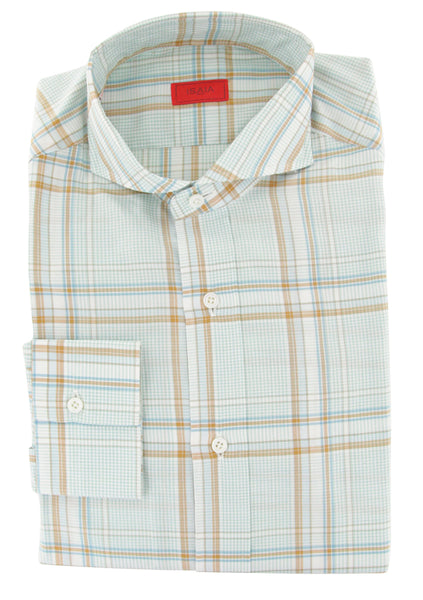 $475 Isaia Light Green Plaid Cotton Shirt - Slim - (4I) - Parent