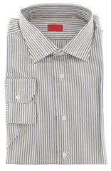 $475 Isaia Light Brown Striped Cotton Shirt - Slim - 16.5/42 - (358)