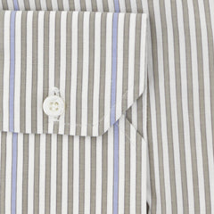 $475 Isaia Light Brown Striped Cotton Shirt - Slim - (358) - Parent