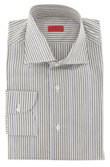 $475 Isaia Light Brown Striped Cotton Shirt - Slim - 15.75/40 - (357)