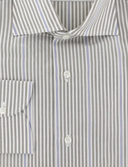 $475 Isaia Light Brown Striped Cotton Shirt - Slim - (357) - Parent