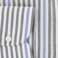 $475 Isaia Gray Striped Cotton Shirt - Slim - (382) - Parent