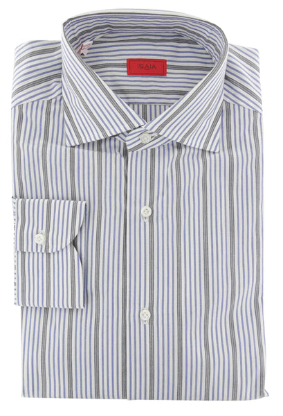 $475 Isaia Blue Striped Cotton Shirt - Slim - (381) - Parent