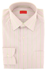 $475 Isaia Lavender Purple Striped Cotton Shirt - Slim - (JM) - Parent