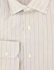$475 Isaia Purple Striped Cotton Shirt - Slim - (KB) - Parent