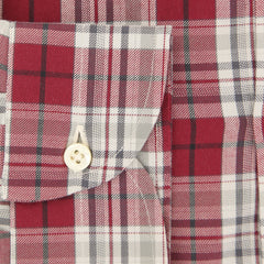 $475 Isaia Burgundy Red Plaid Brushed Cotton Shirt - Slim - (JQ) - Parent