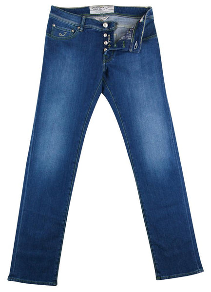 $525 Jacob Cohën Blue Vintage Wash Jeans - Slim - (BG) - Parent