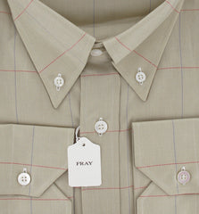 New $600 Fray Beige Casual Shirt Small
