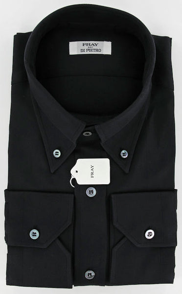 New $600 Fray Black Casual Shirt Medium
