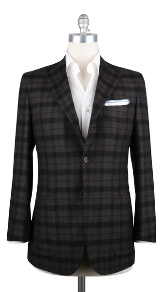New $6000 Kiton Brown Cashmere Plaid Sportcoat -  40/50 - (CASHBRNPLD)