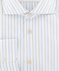 New $600 Kiton Light Blue Striped Shirt - Slim - (CCFTH342008R1W) - Parent