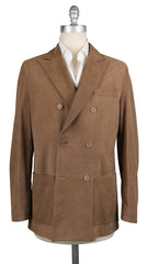 New $7200 Kiton Light Brown Leather Solid Peacoat - (KTCOATBRNX21) - Parent