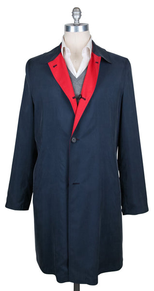 New $6300 Kiton Navy Blue Reversible Raincoat - (COATX17) - Parent