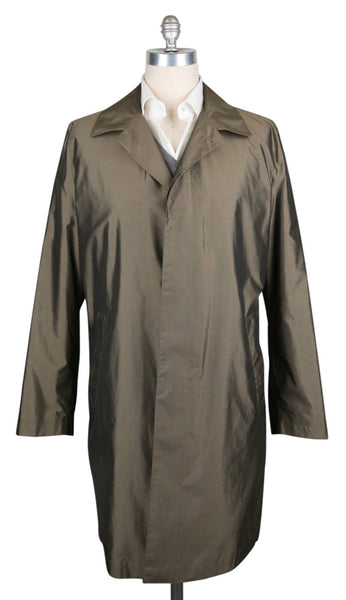 New $3900 Kiton Olive Green Silk Solid Raincoat - (COATX10) - Parent