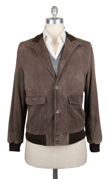 New $6300 Kiton Brown Leather Solid Jacket - (JKTLHBRNSLDX10) - Parent