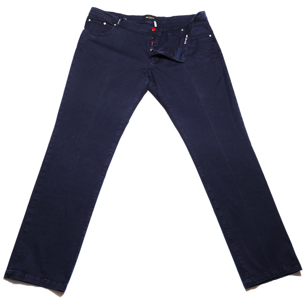 $995 Kiton Navy Blue Solid Jeans - Slim - (991) - Parent