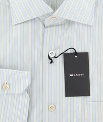 $600 Kiton Light Blue Striped Shirt - Slim - (KTSHRTMULTSTRX22) - Parent