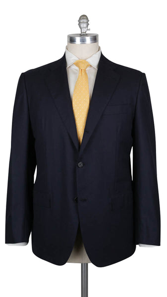 $7800 Kiton Midnight Navy Blue Wool Solid Suit - (342) - Parent