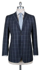 New $6600 Kiton Gray Wool Blend Window Pane Suit - (UA896D0731) - Parent