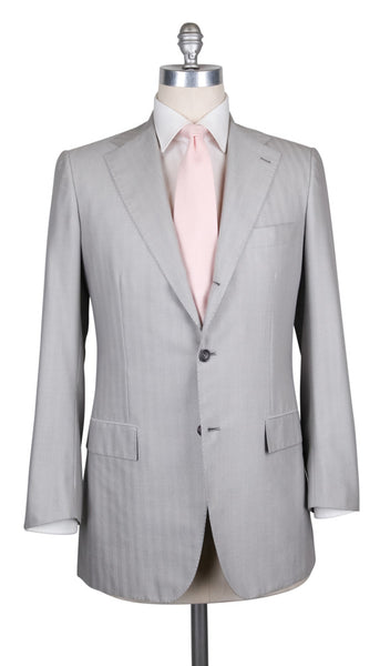 $6000 Kiton Light Gray Cotton Blend Herringbone Suit - (UA896D322R7) - Parent