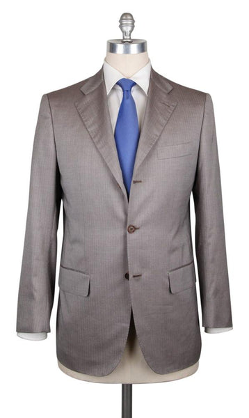 New $6900 Kiton Light Brown Herringbone Suit - (UA896F1928L7) - Parent