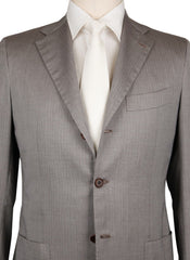 New $6900 Kiton Light Brown Herringbone Suit - (UA896F1928R7) - Parent