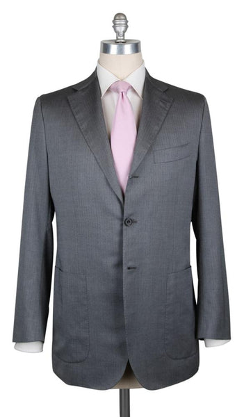 New $6900 Kiton Gray Cotton Blend Herringbone Suit - (UA906F1927RR7) - Parent